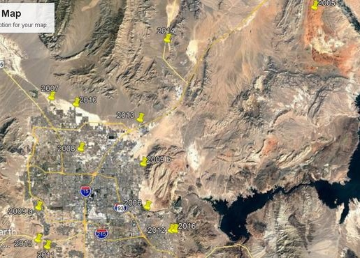 Where the Jinglebell Rock was found in the Las Vegas area by year